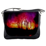 Fall Forest Background Messenger Bags Front