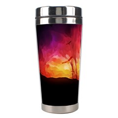 Fall Forest Background Stainless Steel Travel Tumblers