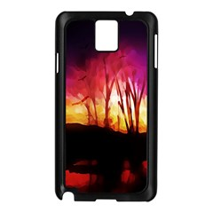 Fall Forest Background Samsung Galaxy Note 3 N9005 Case (black) by Nexatart