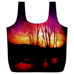 Fall Forest Background Full Print Recycle Bags (l)