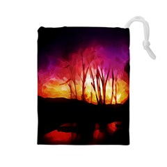 Fall Forest Background Drawstring Pouches (large)  by Nexatart