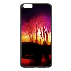 Fall Forest Background Apple Iphone 6 Plus/6s Plus Black Enamel Case