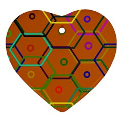 Color Bee Hive Color Bee Hive Pattern Ornament (heart) by Nexatart