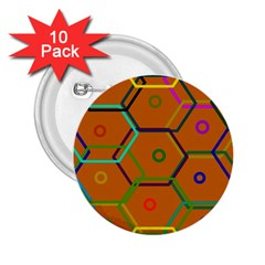 Color Bee Hive Color Bee Hive Pattern 2 25  Buttons (10 Pack)  by Nexatart