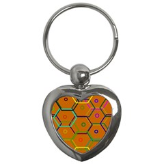 Color Bee Hive Color Bee Hive Pattern Key Chains (heart)  by Nexatart
