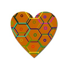 Color Bee Hive Color Bee Hive Pattern Heart Magnet by Nexatart