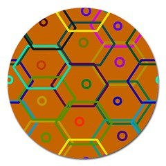 Color Bee Hive Color Bee Hive Pattern Magnet 5  (round) by Nexatart