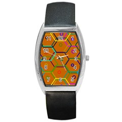Color Bee Hive Color Bee Hive Pattern Barrel Style Metal Watch by Nexatart