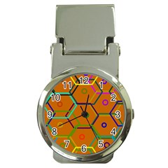 Color Bee Hive Color Bee Hive Pattern Money Clip Watches by Nexatart