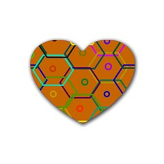Color Bee Hive Color Bee Hive Pattern Rubber Coaster (heart)  by Nexatart
