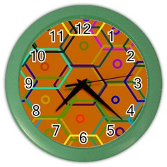 Color Bee Hive Color Bee Hive Pattern Color Wall Clocks