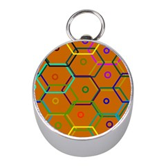 Color Bee Hive Color Bee Hive Pattern Mini Silver Compasses