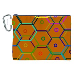 Color Bee Hive Color Bee Hive Pattern Canvas Cosmetic Bag (xxl) by Nexatart