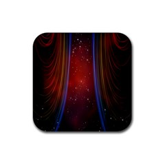 Bright Background With Stars And Air Curtains Rubber Square Coaster (4 Pack)  by Nexatart
