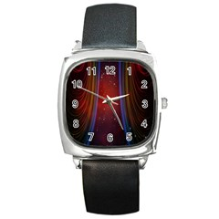 Bright Background With Stars And Air Curtains Square Metal Watch by Nexatart