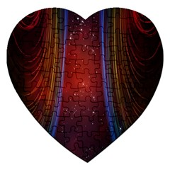 Bright Background With Stars And Air Curtains Jigsaw Puzzle (heart) by Nexatart