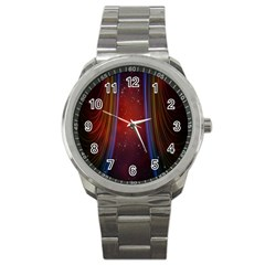 Bright Background With Stars And Air Curtains Sport Metal Watch by Nexatart