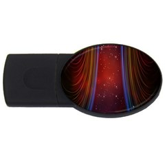 Bright Background With Stars And Air Curtains Usb Flash Drive Oval (4 Gb)