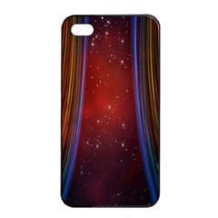 Bright Background With Stars And Air Curtains Apple Iphone 4/4s Seamless Case (black)