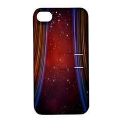 Bright Background With Stars And Air Curtains Apple Iphone 4/4s Hardshell Case With Stand by Nexatart