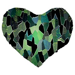 Wallpaper Background With Lighted Pattern Large 19  Premium Heart Shape Cushions