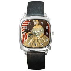Betsy Ross Author Of The First American Flag And Seal Patriotic Usa Vintage Portrait Square Metal Watch by yoursparklingshop