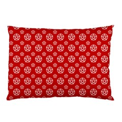 Dark Red White Pentacle Pagan Wiccan Pillow Case (two Sides) by cheekywitch