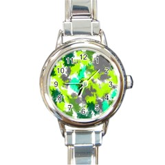 Abstract Watercolor Background Wallpaper Of Watercolor Splashes Green Hues Round Italian Charm Watch
