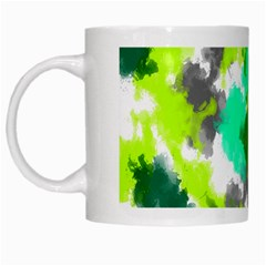 Abstract Watercolor Background Wallpaper Of Watercolor Splashes Green Hues White Mugs by Nexatart