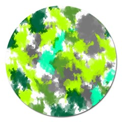 Abstract Watercolor Background Wallpaper Of Watercolor Splashes Green Hues Magnet 5  (round) by Nexatart