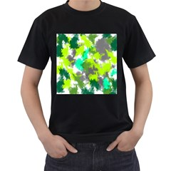 Abstract Watercolor Background Wallpaper Of Watercolor Splashes Green Hues Men s T Shirt (black) (two Sided)