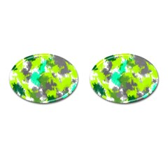 Abstract Watercolor Background Wallpaper Of Watercolor Splashes Green Hues Cufflinks (oval) by Nexatart