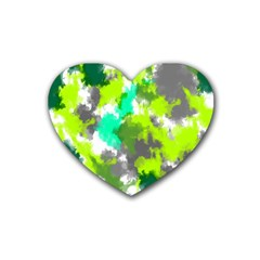 Abstract Watercolor Background Wallpaper Of Watercolor Splashes Green Hues Heart Coaster (4 Pack)