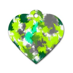 Abstract Watercolor Background Wallpaper Of Watercolor Splashes Green Hues Dog Tag Heart (two Sides) by Nexatart