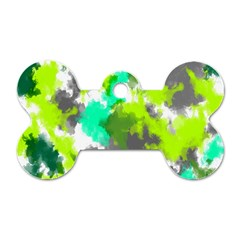 Abstract Watercolor Background Wallpaper Of Watercolor Splashes Green Hues Dog Tag Bone (one Side)