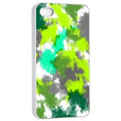 Abstract Watercolor Background Wallpaper Of Watercolor Splashes Green Hues Apple Iphone 4/4s Seamless Case (white)