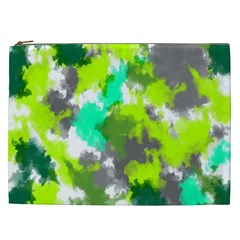 Abstract Watercolor Background Wallpaper Of Watercolor Splashes Green Hues Cosmetic Bag (xxl)  by Nexatart
