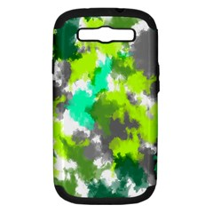 Abstract Watercolor Background Wallpaper Of Watercolor Splashes Green Hues Samsung Galaxy S Iii Hardshell Case (pc+silicone) by Nexatart
