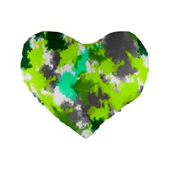 Abstract Watercolor Background Wallpaper Of Watercolor Splashes Green Hues Standard 16  Premium Heart Shape Cushions