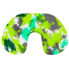 Abstract Watercolor Background Wallpaper Of Watercolor Splashes Green Hues Travel Neck Pillows