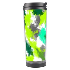 Abstract Watercolor Background Wallpaper Of Watercolor Splashes Green Hues Travel Tumbler by Nexatart