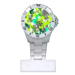 Abstract Watercolor Background Wallpaper Of Watercolor Splashes Green Hues Plastic Nurses Watch