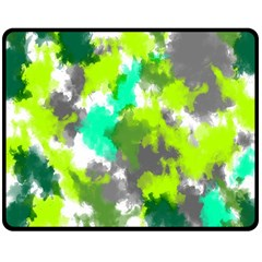 Abstract Watercolor Background Wallpaper Of Watercolor Splashes Green Hues Double Sided Fleece Blanket (medium)  by Nexatart