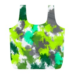 Abstract Watercolor Background Wallpaper Of Watercolor Splashes Green Hues Full Print Recycle Bags (l)  by Nexatart
