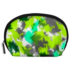 Abstract Watercolor Background Wallpaper Of Watercolor Splashes Green Hues Accessory Pouches (large)