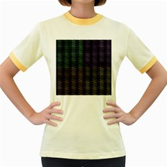 Multicolor Pattern Digital Computer Graphic Women s Fitted Ringer T Shirts