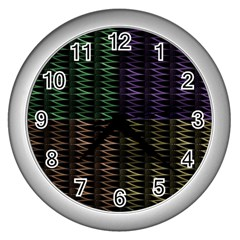 Multicolor Pattern Digital Computer Graphic Wall Clocks (silver)  by Nexatart