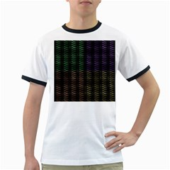 Multicolor Pattern Digital Computer Graphic Ringer T Shirts