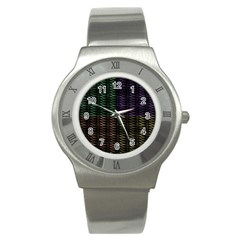 Multicolor Pattern Digital Computer Graphic Stainless Steel Watch by Nexatart