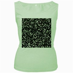 Camouflaged Seamless Pattern Abstract Women s Green Tank Top